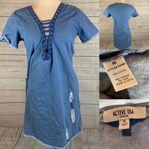 5 for $25 Active USA denim dress size M
